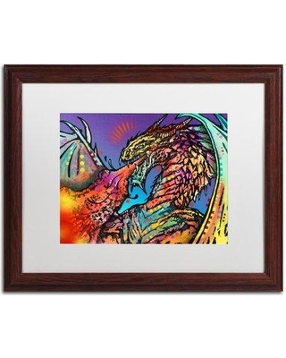 "Trademark Fine Art 'Dragon' - Graphic Art Print on Canvas ALI5836- Matte Color: White Size: 16"" H x 20"" W x 0.5"" D Format: Wood Grain Framed"