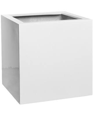PotteryPots Block Small 12 in. Tall Glossy White Fiberstone Indoor Outdoor Modern Square Planter, White/Glossy