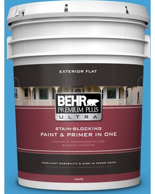 BEHR ULTRA 5 gal. #P500-5 Peaceful River Flat Exterior Paint and Primer in One