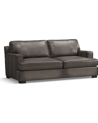 """Townsend Square Arm Leather Loveseat 78.5"""", Polyester Wrapped Cushions, Leather Burnished Wolf Gray"""
