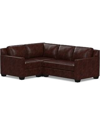 York Square Arm Leather Right Arm 3-Piece Corner Sectional, Down Blend Wrapped Cushions, Leather Legacy Tobacco