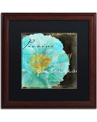 "Trademark Fine Art 'Blue Peony Dark' by Color Bakery Framed Graphic Art ALI4146-W1 Mat Color: Black Size: 16"" H x 16"" W x 0.5"" D"