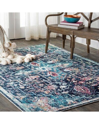 "World Menagerie Steverson Power Loom Blue Rug X112936107 Rug Size: Rectangle 7'9"" x 10'"