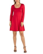 24/7 Comfort Apparel Flared T-Shirt Dress, X-large , Red