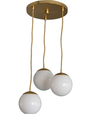 Decor Therapy Michael 3-Light Antique Brass with Milk Glass Pendant