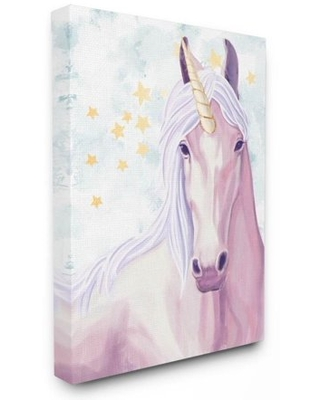 The Kids Room by Stupell Gold Star Pink Purple Unicorn Painting Canvas Wall Art by Ziwei Li
