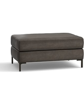 Jake Leather Ottoman, Polyester Wrapped Cushions, Leather Burnished Wolf Gray