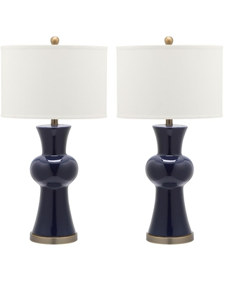 Safavieh Lola 30 in. Navy Column Hourglass Table Lamp with Off-White Shade (Set of 2)