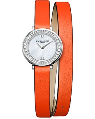 Baume & Mercier Women's Petite Promesse 10290 Diamond, Stainless Steel & Wraparound Leather Strap Watch - Orange