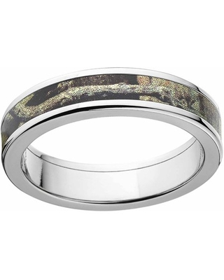 Break Up Infinity Men's Camo 5mm Stainless Steel Wedding Band with Cross Brushed Edges and Deluxe Comfort Fit