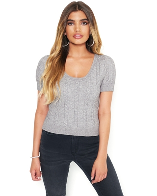 Bebe Women's Cable Knit Sweater, Size XS in Heather Grey Viscose/Nylon