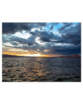 """Design Art 'Beautiful Seascape under Cloudy Sky' Photographic Print on Wrapped Canvas, Canvas & Fabric in Brown/Blue, Size 28"""" H x 60"""" W   Wayfair"""