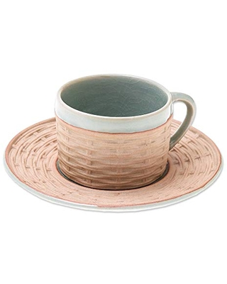 NOVICA Beige And Green Ceramic Celadon Cup & Saucer Set, Wicker In Green'