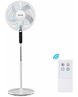 Pelonis 16'' DC motor Ultra Quiet Pedestal Fan for Sleeping&Baby, High Energy Efficency Standing Fan with 12 Speed, 12-Hour Timer, Remote Control, and Adjustable Heights, FS40-19PRD, White