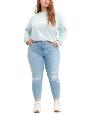 Levi's Trendy Plus Size 711 Ripped Skinny Ankle Jeans