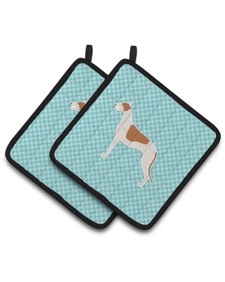 Greyhound Checkerboard Blue Pair of Pot Holders