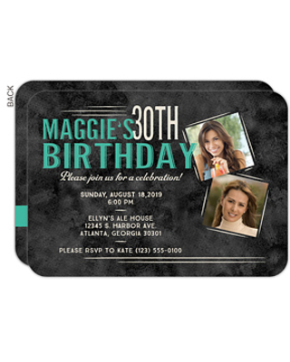 Personalized Birthday Party Invitations - Vintage Age - Set of 5