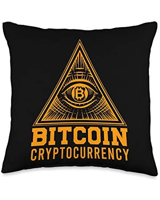 Coin Money Trading Trader Wallet Digital Currency Bitcoin BTC Pyramid All Seeing Eye Cryptocurrency Money Gift Throw Pillow, 16x16, Multicolor