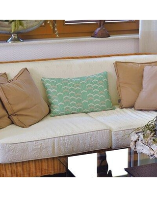 Brayden Studio Stephenie Lined Chevrons Faux Leather Lumbar Pillow X112700305 Color: Green/Orange Fill Material: Polyester/Polyfill