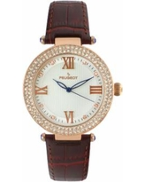 Peugeot Women's Crystal Leather Watch, Brown
