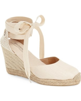 Women's Soludos Wedge Lace-Up Espadrille Sandal, Size 9 M - Beige