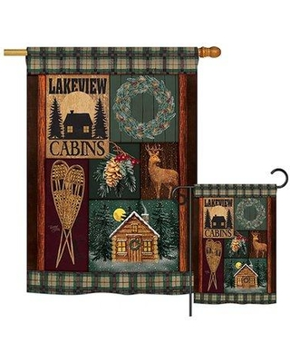 Breeze Decor Lakeview Cabins Winter Christmas Impressions 2-Sided Polyester 2'3 x 3'3 ft. Flag Set BD-XM-S-114163-IP-BO-D-US18-AM