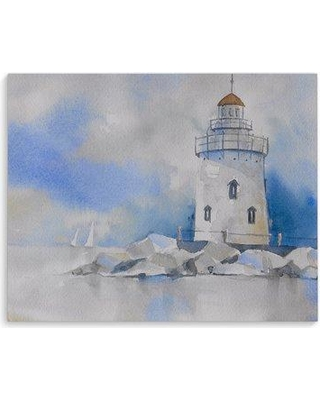 """Breakwater Bay 'Lighthouse Blue' Print on Canvas BF109457 Size: 24"""" H x 36"""" W x 1.3"""" D Format: Wrapped Canvas"""