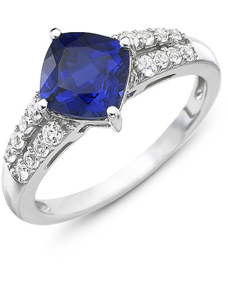 Lab-Created Blue & White Sapphire Ring Sterling Silver, 8