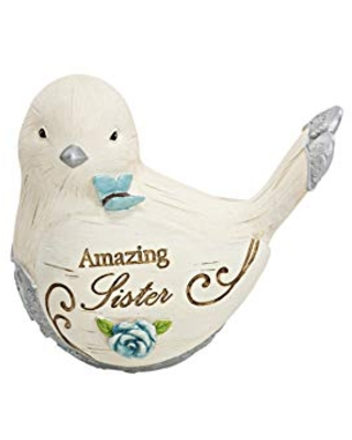 Pavilion Gift Company Amazing Sister 3 Inch Resin Bird Figurine, Cream