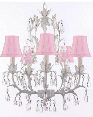 House of Hampton Molina 5-Light Shaded Chandelier HMPT3678 Shade Color: Cream Crystal Color: Pink