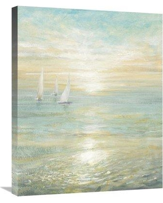 "East Urban Home 'Sunrise Sailboats I' Print ESUM7598 Size: 28"" H x 22"" W Format: Wrapped Canvas"