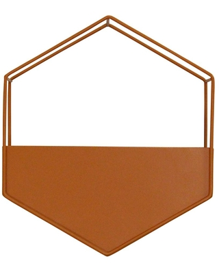 Stratton Home Decor Orange Metal Wall Planter, Natural wood