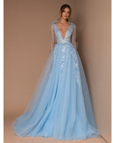 Milanoo Evening Dress Blue A-Line V-Neck Sleeveless Lace Floor-Length Formal Party Dresses With Train
