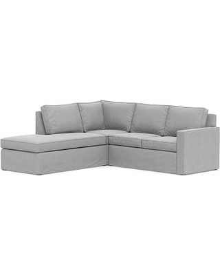 Cameron Square Arm Slipcovered Right 3-Piece Bumper Corner Sectional, Polyester Wrapped Cushions, Sunbrella(R) Performance Chenille Fog