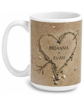 Personalized Heart in Sand White Handle 15oz Coffee Mug