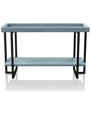 Furniture of America Triblisi 30.5 in. H Antique Blue and Black Sofa Table
