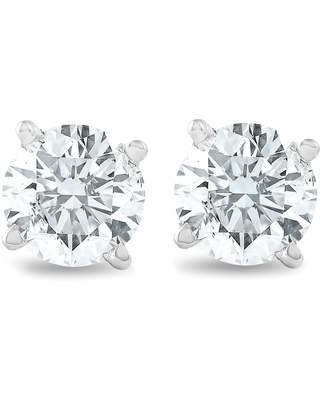 3/4Ct Round Brilliant Natural Diamond Stud Earrings in 14K White Gold Classic Setting (White)