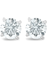 3/4Ct Round Brilliant Natural Diamond Stud Earrings in 14K White Gold Classic Setting