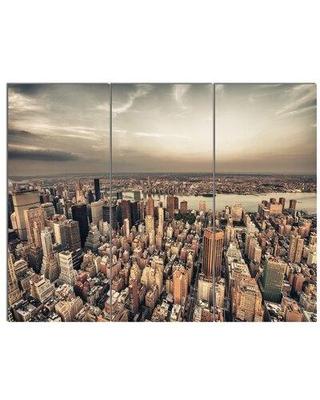 """Design Art 'Manhattan Skyscrapers Aerial View' 3 Piece Photographic Print on Wrapped Canvas Set, Canvas & Fabric in Brown, Size Medium 25""""-32"""""""