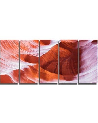 """Design Art Antelope Canyon Brown Wall 5 Piece Wall Art on Wrapped Canvas Set, Canvas & Fabric in Brown/Purple, Size Medium 25""""-32"""" 