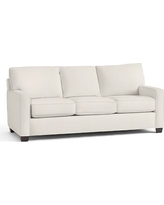 Buchanan Square Arm Upholstered Deluxe Sleeper Sofa, Polyester Wrapped Cushions, Denim Warm White