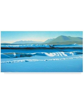 "Trademark Fine Art 'Pacific Surf' Graphic Art Print on Wrapped Canvas ALI32578-CGG Size: 16"" H x 32"" W x 2"" D"