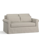 """York Roll Arm Slipcovered Deep Seat Loveseat 64"""" with Bench Cushion, Down Blend Wrapped Cushions, Performance Slub Cotton Silver Taupe"""