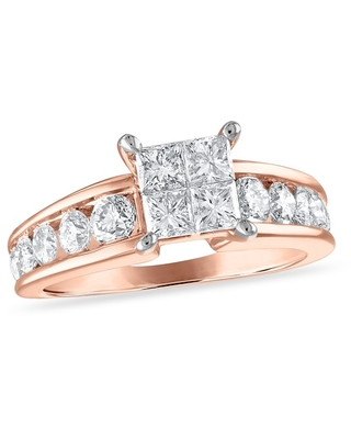 Jared Diamond Engagement Ring 1-7/8 ct tw Princess/Round 14K Rose Gold