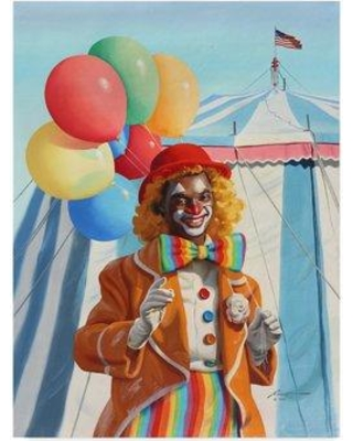 """Trademark Fine Art 'Clown Balloons' Acrylic Painting Print on Wrapped Canvas ALI25945-CGG Size: 19"""" H x 14"""" W"""