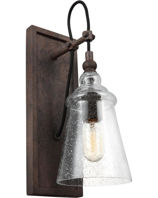 Feiss Loras 1-Light Dark Weathered Iron Wall Sconce