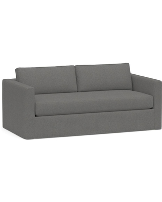 """Carmel Square Slim Arm Slipcovered Sofa 80.5"""" with Bench Cushion, Down Blend Wrapped Cushions, Performance Brushed Basketweave Slate"""