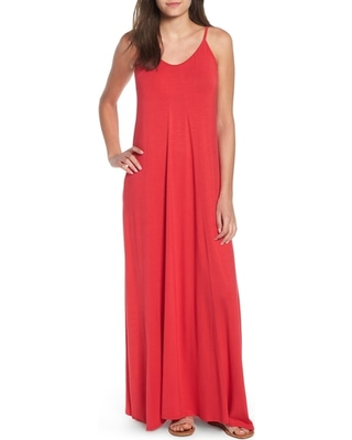 Petite Women's Loveappella Knit Maxi Dress, Size X-Large P - Red