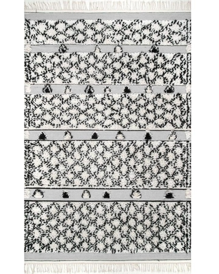 nuLOOM 8 x 10 Silver Trellis Bohemian/Eclectic Handcrafted Area Rug | MTMR01B-76096