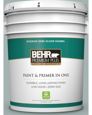 BEHR Premium Plus 5 gal. #PPU12-09 Frozen Pond Semi-Gloss Enamel Low Odor Interior Paint and Primer in One